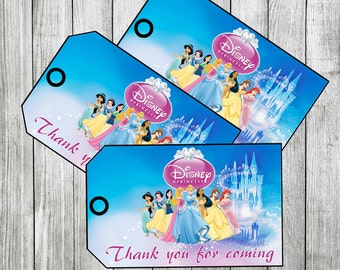 Disney Princess Thank you Tags, Favor Tags (Non-Personalized) PRINTABLE, INSTANT DOWNLOAD