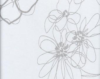 Oilcloth tablecloths fabric floral design Scandinavian grey 29-021