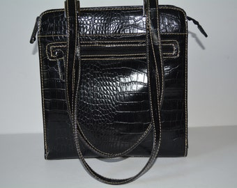 Villager Handbag, Liz Claiborne, Black Croc Purse, Satchel Bag, Messenger Bag,Purse,  Black Purse, Classic, , Handbag, Luxury Bags