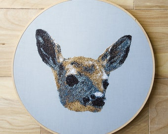 Fawn, Baby Deer Hoop Art.  10 Inch Embroidery Hoop Wall Art.  Stitched Wall Hanging.  Home Decor.