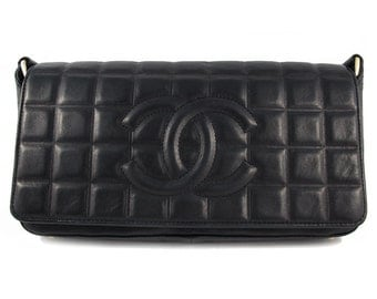 Vintage Chanel Black Lambskin Chocolate Bar Evening Bag c. 1980's