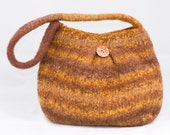Knit felted bag - in Autumnal shades with glints of gold thread