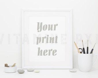 Frame Mockup, Print mockup, photography, white frame, artist brushes, white mockup, picture mockup, styled background, stock photo, mock-up