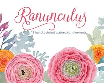 Ranunculus clipart, digital watercolor, watercolor flowers clipart, wedding invitation, scrapbooking, boho flowers, hand painted, diy invite