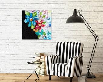 Original painting Fresh flowers mixed media 20x20