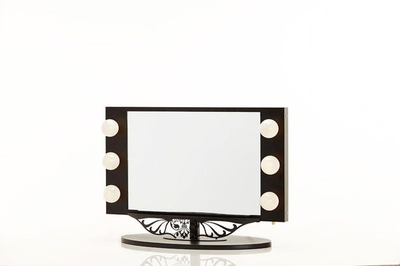 starlet lighted vanity mirror black by hollywoodvanitygirl on etsy. Black Bedroom Furniture Sets. Home Design Ideas
