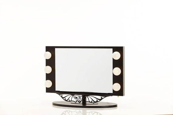 Vanity Mirror With Lights Etsy : Starlet Lighted Vanity Mirror Black by HollywoodVanityGirl on Etsy