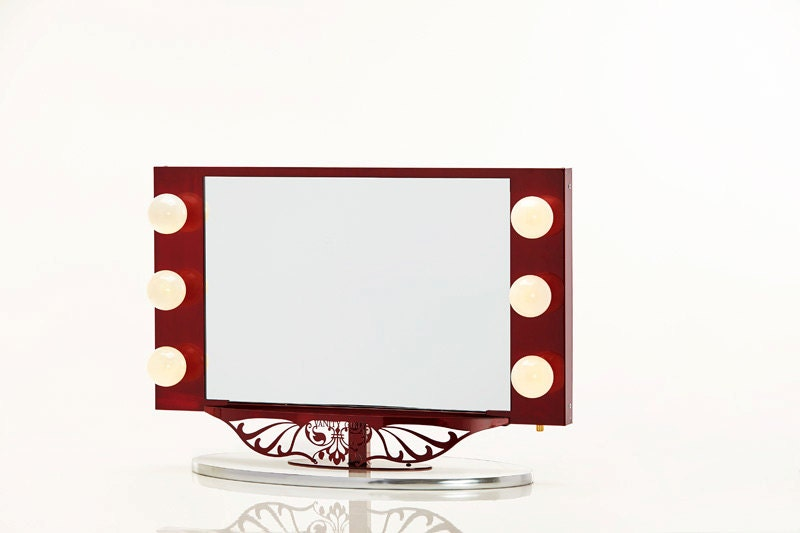 starlet lighted vanity mirror red by hollywoodvanitygirl on etsy. Black Bedroom Furniture Sets. Home Design Ideas