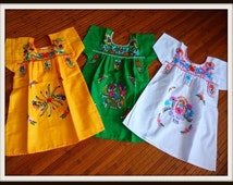 Earthbabies Mexican dress, boho baby dress, hand embroidered mexican girls dress