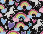 Timeless Treasures Glitter Unicorn Rainbow Fabric - FQ, FBTY- Tula Fabric -  Unicorn Fabric