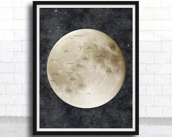 Moon Poster - Moon Art - Moon Print - Moon - Outer Space - Astronomy - Apollo landing places - Full Moon - Astronomy Poster