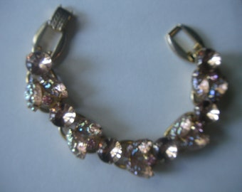 Vintage Juliana Rhinestone Bracelet Art Glass 5 Link