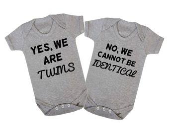 Babygrow Bodysuit Yes We Are Twins, No We Cannot Be Identical Set Of Two Twins Baby Vest
