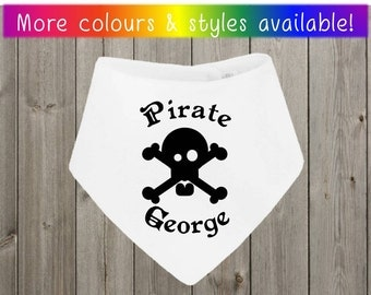 Personalised Pirate Name Skull And Crossbones Baby Bib (Bandana Bib, Pullover And Velcro Styles Available In Many Colours)