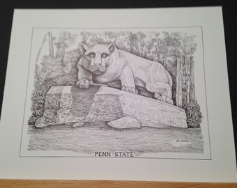 Penn State 8x10 print of Nittany Lion Statue