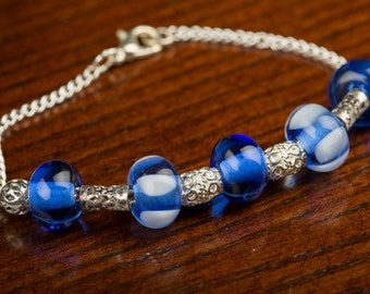 Blue Spotted Glass Bead Bracelet, Lampwork Beads, Silver Chain