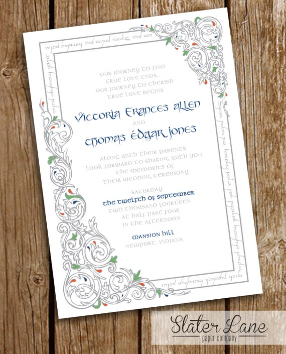 Lord Of The Rings Wedding Invitation DIY By SlaterLanePaperCo