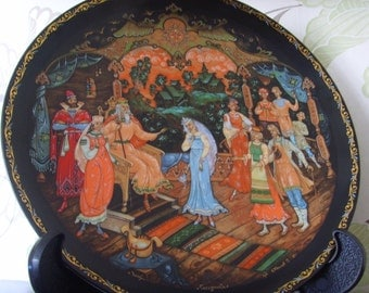 "Vintage Russian art plates ""The Judgement of Tsar Berendey"""
