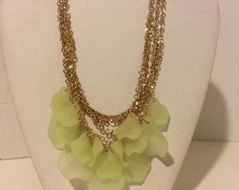 Light yellow and gold chunky resin petal lightweight multi layer petal necklace