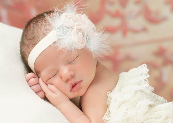White Headbandpink Baby Headbandchristening Headband