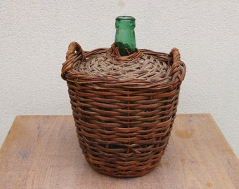 Vintage bottle Lady jeanne wicker basket braided capacity 10 L for decoration, creation