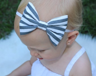 gray and white stripe baby bow headband