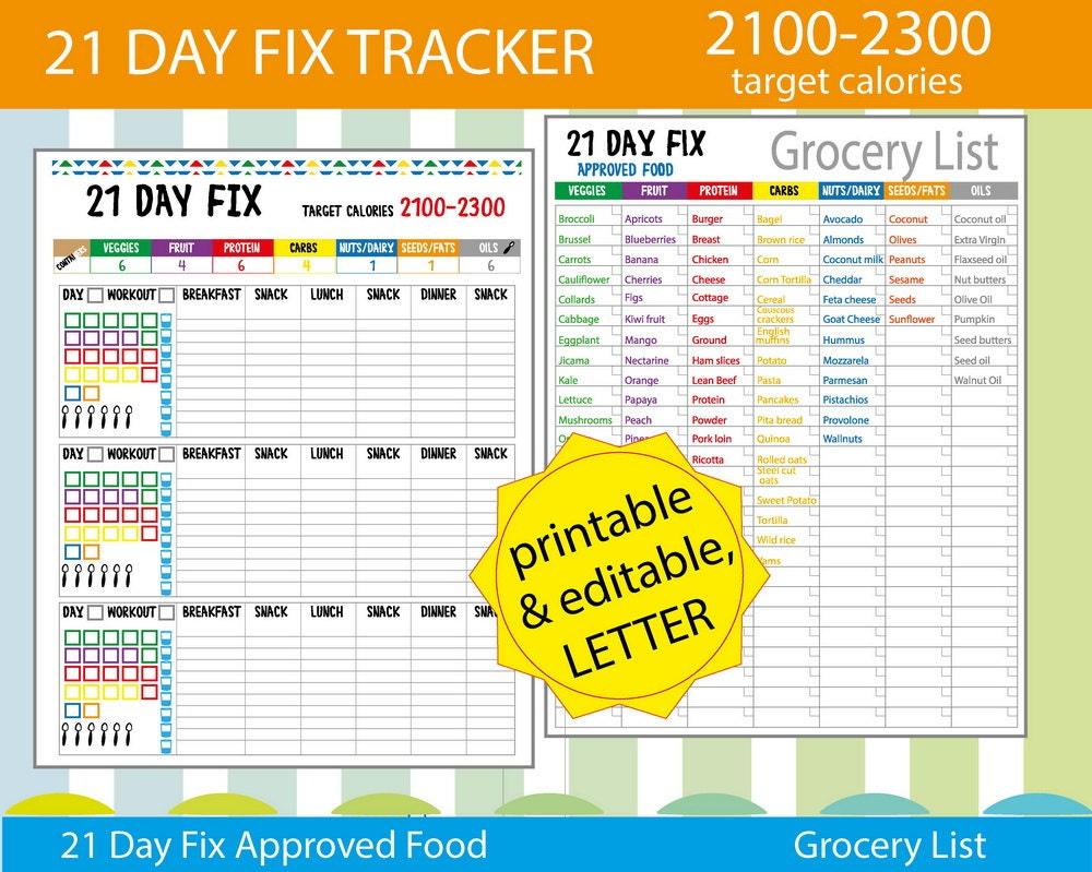 21 Day Fix Tracker 21 Day Fix Meal Plan 21 By