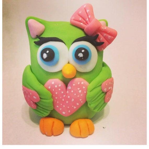 Edible Cake Image Owl : Sweet Owl Edible Fondant Cake/cupcake by SanyasCakeDecoration