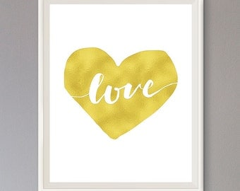 EXTRA 50% OFF Multiple Purchases Downloadable Print Love Heart Gold Effect