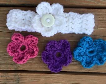 Crocheted Baby flower headband