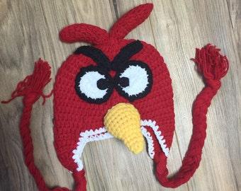 Angry bird crochet hat, bird hat, red crochet hat, bird knit hat