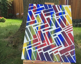 Primary color with white brick overlay painting