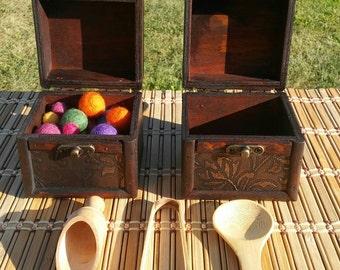 Montessori Treasure Box Transfer Lesson With Wool Balls