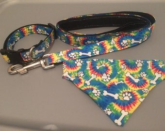 Tie Dye Collar, Bandana and Matching Leash