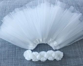 White  baby Tutu and headband Set