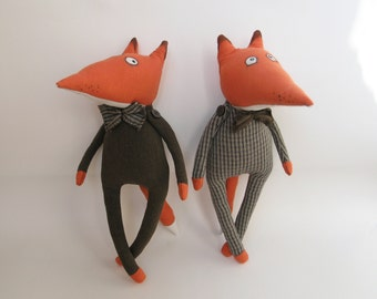 Set of two Red Foxes / Children's room decor / OOAK Fox / Primitive Foxes