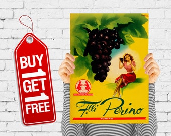Fruit poster vintage retro grapes advertising kitchen wall art fruit print paper dining room retro restaurant - Gianrosa 1955 Grapes (2319)