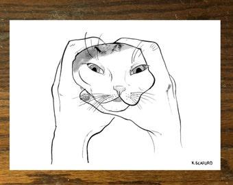 Cat Face Lift Print