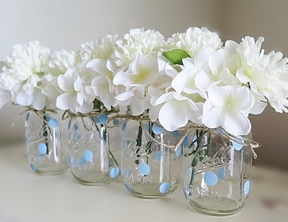 mason jar centerpieces baby shower mason jars blue polka dots mason