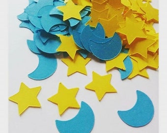 Moon and stars confetti 200CT . Baby shower confetti