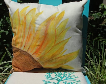 Hand Painted Yellow Sunflower Decorative Pillow Cover, Country cottage or rustic farmhouse decor, Floral Pillow, Sunflower decor