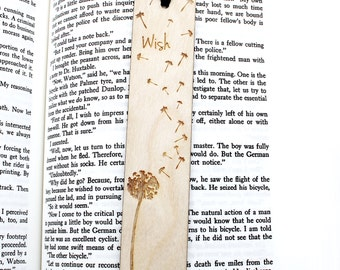 Dandelion Wish - Wooden Engraved Personalised Bookmark Personalized Bookmarker