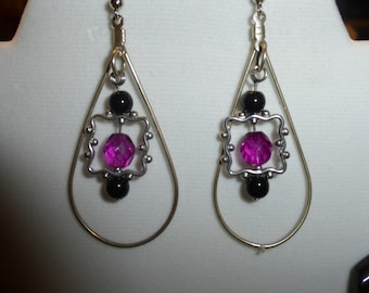 matching earrings for the giant pink flower necklace