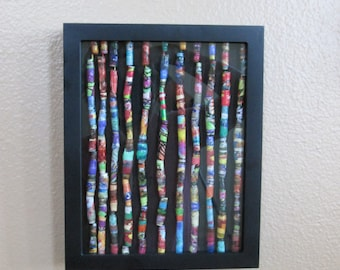 Colorful homemade ethnic African- inspired  paper beads wall art in shadow box display