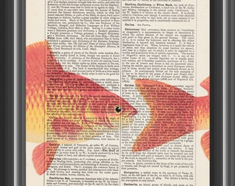 Goldfish bathroom decor vintage dictionary print home decor wall art #167