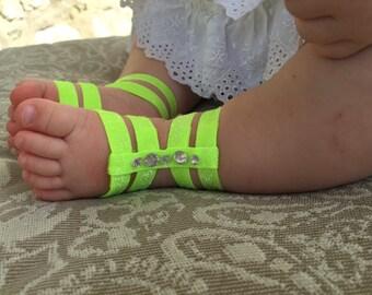 Girls Gladiator Sandal, Newborn baby Gladiator Sandals, Barefoot Sandals for babies, Baby Sandals, neon green with Rhinestones