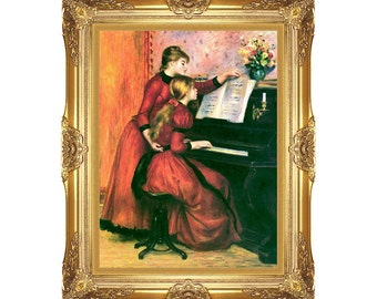 Framed Art The Piano Lesson Pierre Auguste Renoir - Print on Canvas - Sizes Small to Large - M00363
