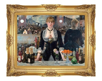 A Bar at the Folies-Bergere Edouard Manet Framed Canvas Wall Art Print Painting Reproduction Sizes Small to Large - M00236
