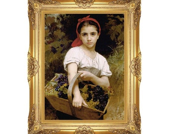 Framed Art Print The Grape Picker William Bouguereau Canvas Wall Artwork Painting Reproduction - Sizes Small to Large - M00854