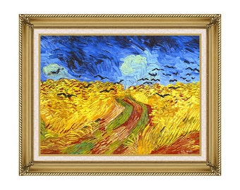 Framed Wall Decor Wheat Field with Crows Vincent van Gogh Canvas Art Print Painting Reproduction - Sizes Small to Large - M00393